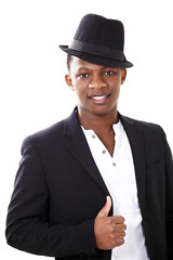 Handsome african man in a jaunty hat