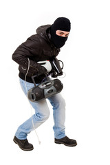 Robber with goods, isolated on white