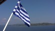 Greek flag at the back of a boat