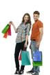 Shopping couple smiling. on white background