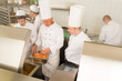 Professional chef cook prepare food in kitchen
