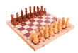 Chess on a chess board isolated over white