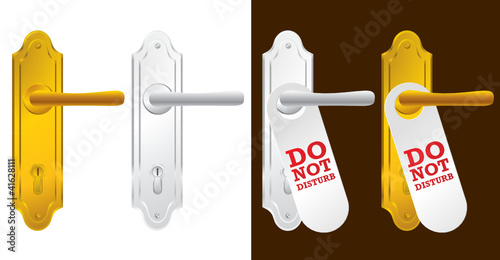 Door handle in gold and silver - vector illustration