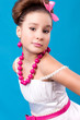 cute girl with pink beads