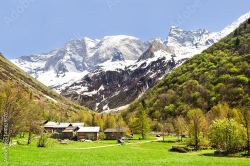 Fototapeten,savoie,alps,berg,dorf am meer