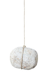 Stone, rock dangling by a string on white, clipping path
