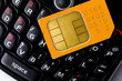Sim card on smart phone keyboard
