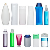 Set of plastic bottles. Scale and and proportion saved