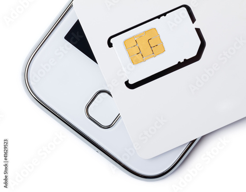 Blank sim card with smart phone isolated on white