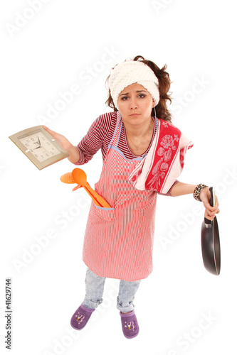 woman tired housewife isolated