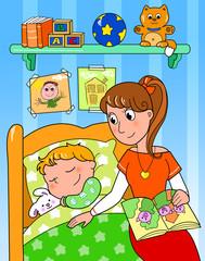 Bambino che dorme nella sua camera con la mamma.