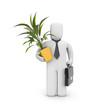 Businessman hold pot with plant. Moving metaphor