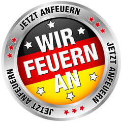 """Button Banner """"Wir feuern an"""" schwarz/rot/gold"""