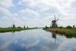 dutch windmills in summer day