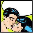 Popart comic  Love Vector illustration of a kissing couple love