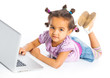 young girl using notebook computer