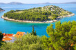 Picturesque nature sea landscape with island.  Croatia