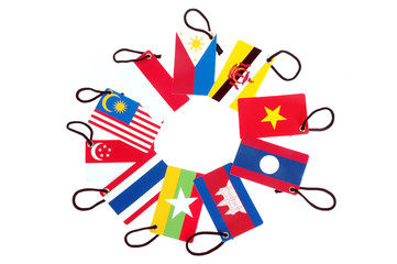 ten asean member countries  flag tag