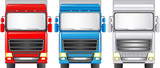 Transport set of isolated colorful trucks