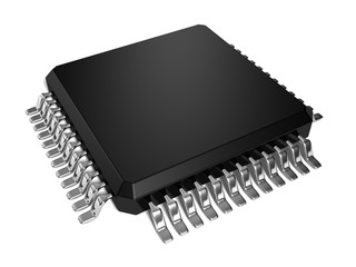 black cpu microchip on white background