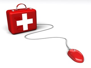 red medical box with a white cross connected to a computer mouse