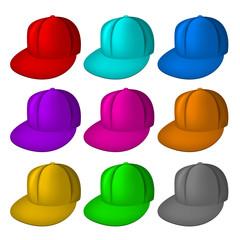 Panel de casquettes colorées