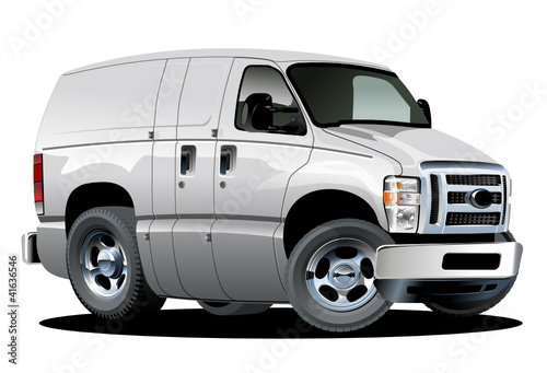 Vector cartoon delivery van. One click repaint option