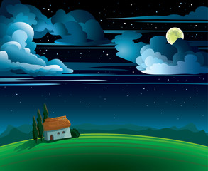 Summer landscape with fool moon and house