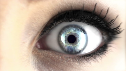 Looping video of woman with crystal clear eyes