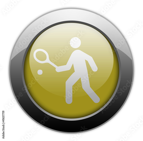 "Yellow Metallic Orb Button ""Tennis"""