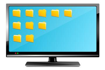 Monitor mit Ordnern