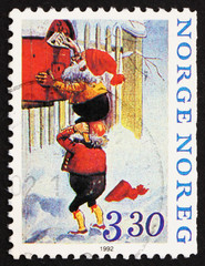 Postage stamp Norway 1992 Two Elf's mailing Letters