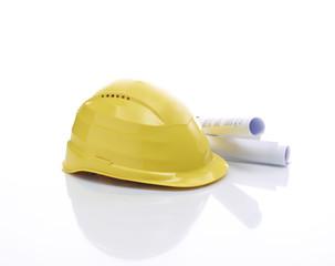 Helm mit Bauplänen