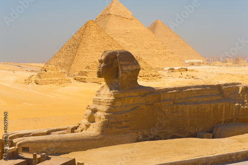 Sphinx Side View Pyramids Giza Composite