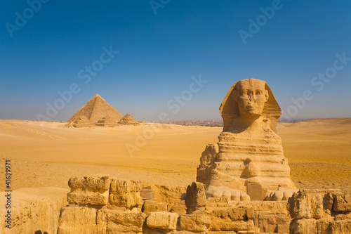 Sphinx Front Pyramids Desert Cairo Background