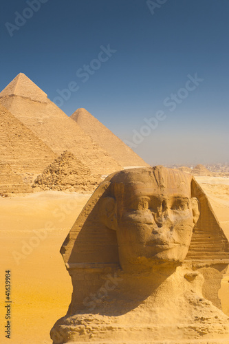 Close Sphinx Face Four Pyramids Shoulder