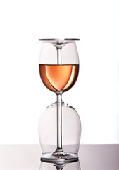 Two wine glasses with rose wine