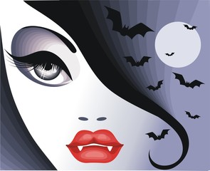 Красивая девушка вампир
