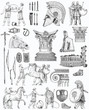 Old greek set illustration
