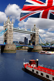 Tower Bridge with flag of England in London - 41642570