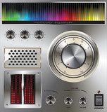 Vector volume knob with digital colorful equalizer