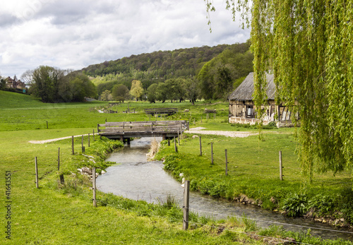Leinwandbild Motiv Scenic view on  of the french spring countryside with rever and
