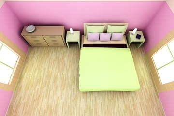 Rosa Schlafzimmer