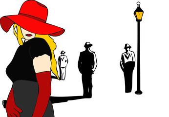 Una donna in attesa dei suoi clienti