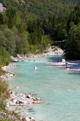 Fisherman in the Soca river, Slovenia