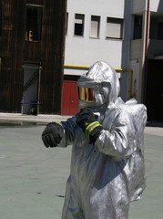 firefighters with special suit against radiation
