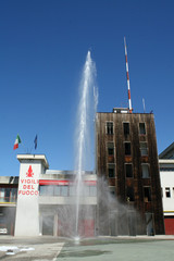 fire station with hydrant in action during an exercise test