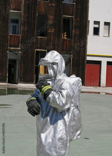 firefighters with special suit against radiation and radioactivi