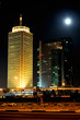 Dubai. World Trade center and moon
