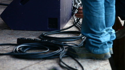 Tidy up cables on stage